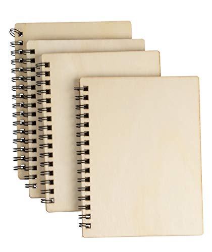 - Wooden Hardcover Blank Book - 4-Pack Spiral Notebooks, Unruled Plain Wood Cover Travel Journals for Wedding Party Favor, DIY Keepsakes, Bridal Shower Gifts, 4.5 x 5.8 Inches