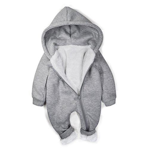 Minilove Baby Dinosaur Winter Warm Thick Plush Hoodie Jumpsuit(Gray(T)) ()
