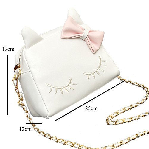 Bags Tote Girls Shoulder XMLiZhiGu Womens Bowknot Leather Small Bag PU Crossbody Handbag Fashion White Cat Cute wYvvRqd