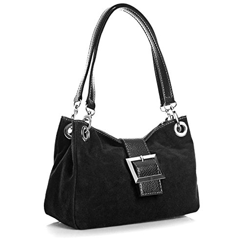 Shoulder Italian Handbags Suede Black Real Bag Women Leather Aossta g0Y4qwW