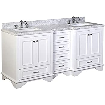"""Kitchen Bath Collection KBC1272WTCARR Nantucket Bathroom Vanity with Marble Countertop, Cabinet with Soft Close Function and Undermount Ceramic Sink, Carrara/White, 72"""""""