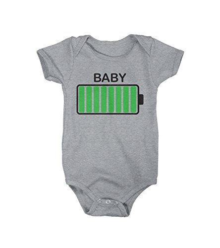 Crazy Dog T-Shirts Baby Battery Fully Charged Funny Newborn Infant Creeper Bodysuit for Newborn (Grey) 3-6 Months