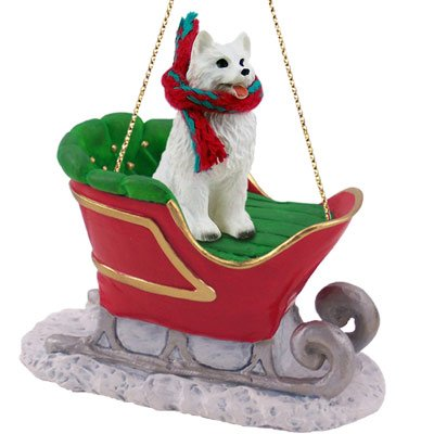- Conversation Concepts American Eskimo Dog Sleigh Ride Christmas Ornament - DELIGHTFUL!