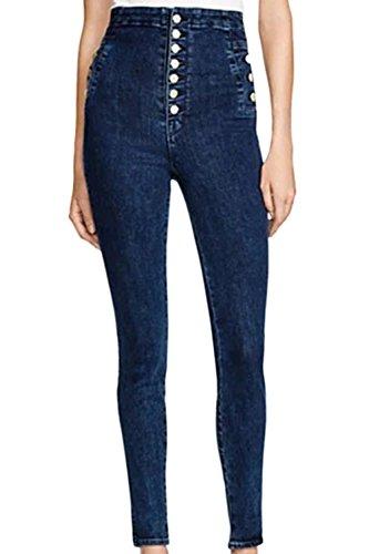 Un Les En Taille Pantalon blue Jean Haute Long Boutons Pantalons De Mtal 88UqryaK