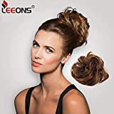 Leeons Wavy Donut Updo Ribbon Ponytail Hair Extensions Curly Messy Bun Dish Scrunchy Scrunchie Hairpiece Wave Bun Scrunchie Synthetic Hair Bun (#27h33)