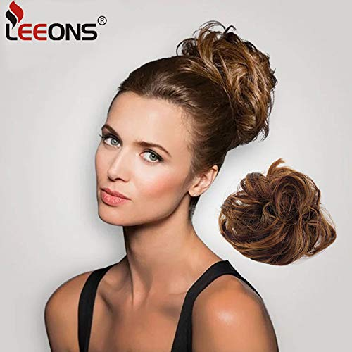 Leeons Wavy Donut Updo Ribbon Ponytail Hair Extensions Curly Messy Bun Dish Scrunchy Scrunchie Hairpiece Wave Bun Scrunchie Synthetic Hair Bun (#27h33) by LEEONS