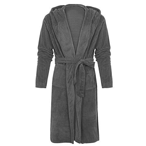 Women Winter Bathrobe Plush Lengthened Shawl Bathrobe Long Sleeve Robe Coat Femme 2018,Dark Gray,4XL]()