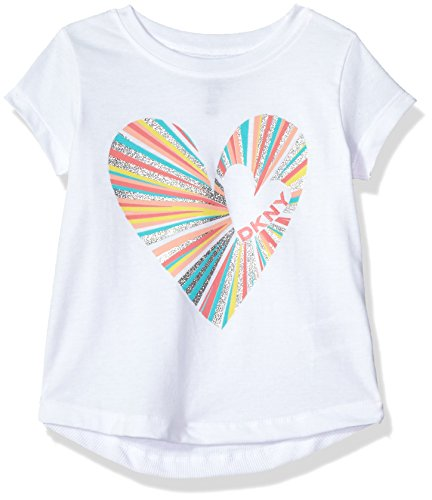 DKNY Toddler Girls' Short Sleeve T-Shirt, Heartbreaker White, 3T Heartbreaker Fashion