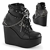 Demonia Women's Poison-101/Bvl Boot, Black Vegan Leather, 7 M US