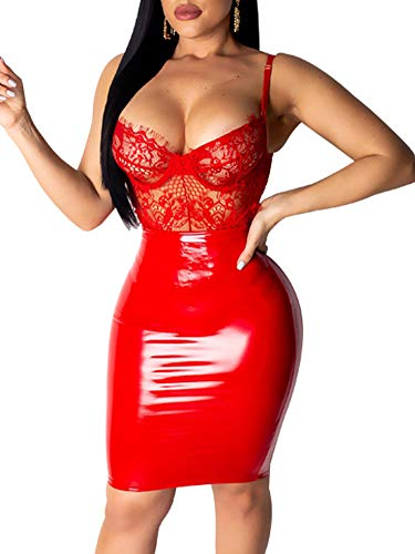(Women Sexy Lace Spliced Spaghetti Strap Backless Cocktail Party Mini Dress S Red)