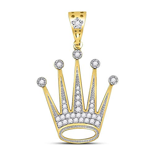 The Diamond Deal 10kt Yellow Gold Mens Round Diamond Crown King Charm Pendant 1/2 Cttw