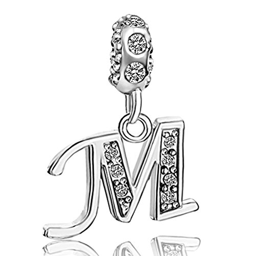 JMQJewelry Letter M Initial Birthstone Dangle Alphabet Rhinestone Charms For Bracelets Christmas (Initial Rhinestone)