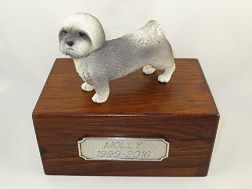 Beautiful Paulownia Small Wooden Urn with Gray Puppycut Lhasa Apso Figurine & Personalized Pewter Engraving