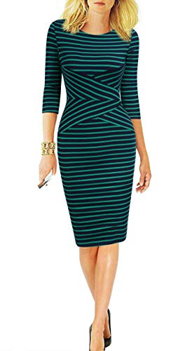 REPHYLLIS Women 3/4 Sleeve Striped Wear to Work Business Cocktail Pencil Dress L Green