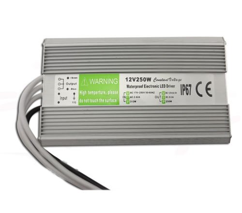 Rextin DC 12V 250W 21A Led Power Supply Constant Voltage LED Transformer IP67 Waterproof Aluminum Alloy Shell For LED Lighting Led Strip Led Module LED Power Accessories (250W)