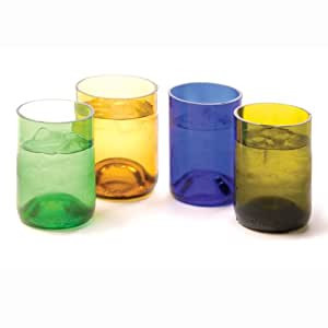 Oenophilia Recycled Glass Wine Bottle Tumblers, Assorted Colors - Set of 4