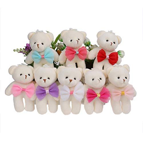 8 Colors Plush Toys Bow Cute Korean Mini Baby Girls Bear Toys Dolls Candy Color Flower Bouquets Bear