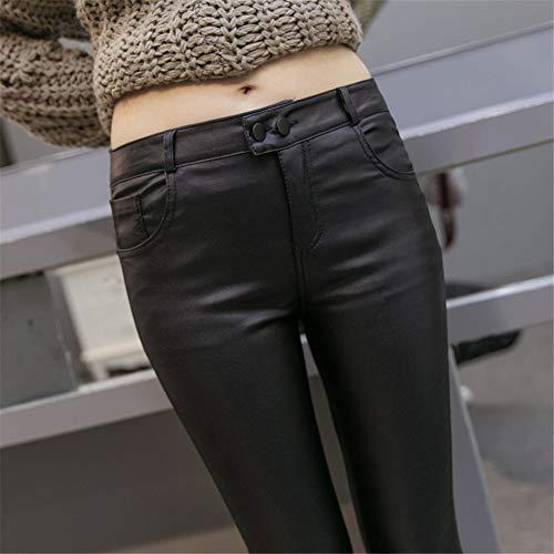 Plus Recubierta Pantalones Otoño Y Leggings Terciopelo Llevar Invierno Wilde Pies Negro Mujeres Hhsm Piel Mareas Fina q08wx04d
