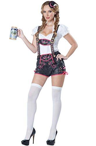 California Costumes Women's Flirty Lederhosen Costume, Black, ()