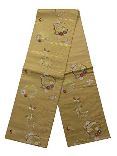 ふざけた教育する感情のリサイクル 袋帯 雪輪に蝶と四季花 正絹 六通柄