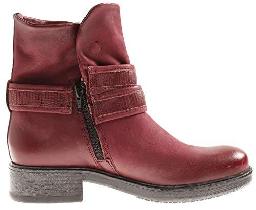 Isabelle En Bottes Femmes Cuir Pour Motard Chaussures Hiver Rouge Bottines De 8788 0rnxd8R0