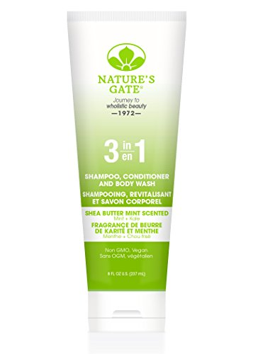 Natures Gate Mint Body Wash (Nature's Gate Shea Butter 3-In-1 Mint Shampoo Conditioner and Body Wash, 8 Fluid Ounce)