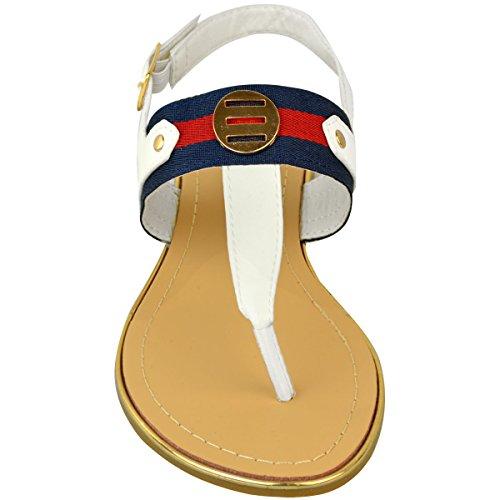 ... Mode Assoiffé Femmes Plat Talon Tongs Dété Sandales Orteil Post  Chaussures De Plage Taille Blanc Faux 611738f2d334