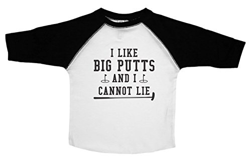 Grandma Golf Shirt (Funny Golf Shirt for Boys or Girls / BIG PUTTS / Kids Toddler TEE / Baffle (2T, BLACK AND WHITE))