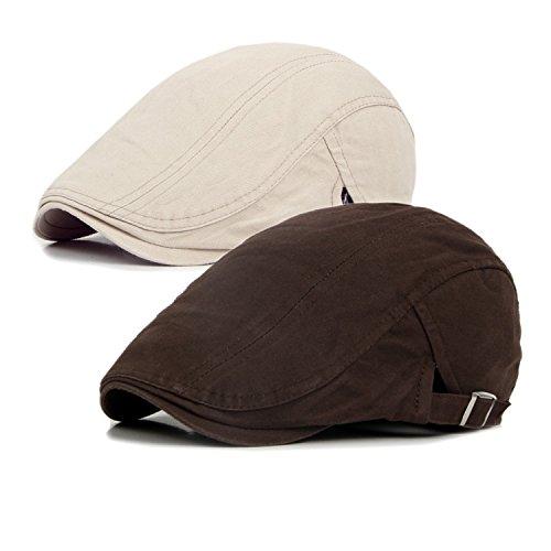 Cotton Hunting Cap - Qossi 2 Pack Men's Cotton Flat Cap Ivy Gatsby Newsboy Hunting Driving Hat