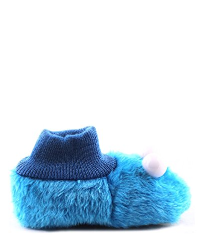 Sesame Street Sock Top Slippers (5-6 M US Toddler, Cookie Monster Puppet)