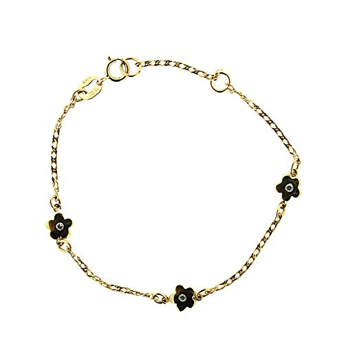 18K Yellow Gold Flowers with White Zirconia Cener in line Bracelet 6 inch with extra ring at 5.25 inch by Amalia