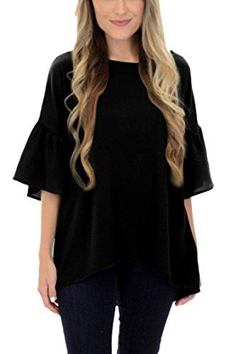 Chiffon Bell Sleeve (Selowin Women Trendy Solid Chiffon Ruffle 1/2 Sleeve Top Blouse For Juniors Black XL)