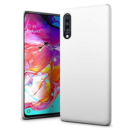 SLEO Case for Samsung Galaxy A70 Case - Rubberized Hard PC Back Case Cover for Samsung Galaxy A70 - White
