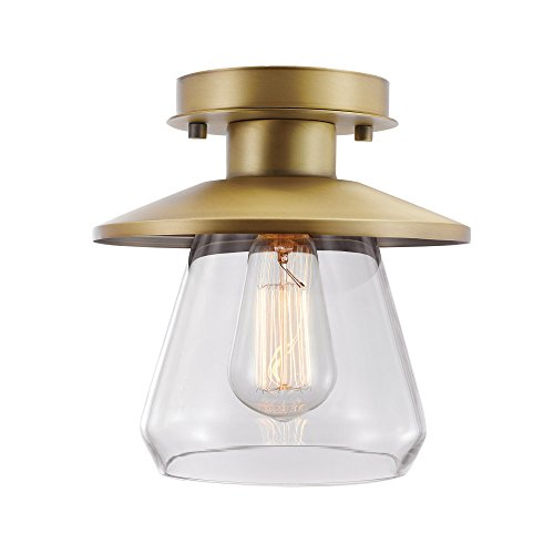 (Globe Electric 65987 Nate Light Semi-Flush Mount, Brass with Clear Glass Shade)