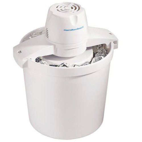 Hamilton Beach 68330N Automatic Ice Cream Maker, 4 quart, White (2qt Ice Cream Maker)