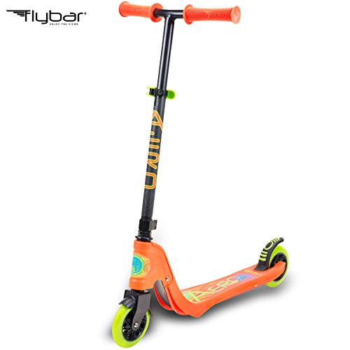 Scooter Wheels Micro (Flybar Aero 2-Wheel Kick Scooter For Kids With Grip Tape Deck, ABEC 5 Bearings, 125mm Light Up Wheels & Adjustable Handlebars - Holds Weights Up To 175 Lbs)