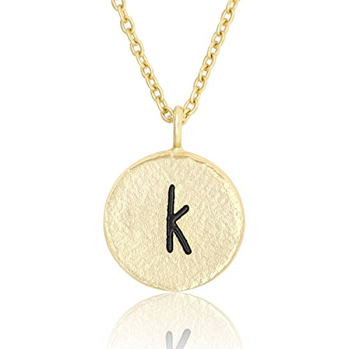 Tiny Letters - KISSPAT 14K Gold Tone Handmade Initial Necklace Hammered Tiny Alphabet Pendant Letter Jewelry for Women