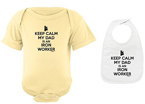 Toddler Clothes Keep Calm My Dad is an Iron Worker Banana Bodysuit and White Bib Bundle 12 Months (Reel Worker Iron)