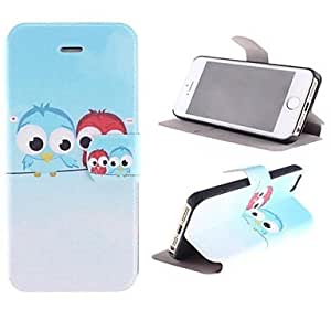 WEV Two Birds in The Pattern PU Full Body Case with Card Slot and Stand for iPhone 5/5S