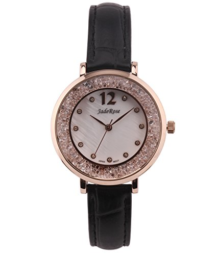 Jaderose Woman Quartz Watch,Alloy Waterproof Girls White Dial Comfortable Leather Band,Quartz Movement (Black)