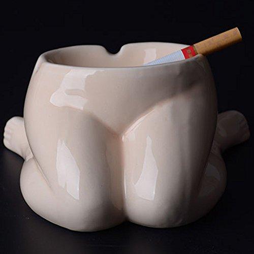 Max&Mix Ceramic Ashtray,Cute Sexy Breast Cigar Ashtray Ash Tray Portable Ashtray Cigarettes Cigar Decor Tray Holder for for Kitchen Home Art Decorative,Smoker (White leg)