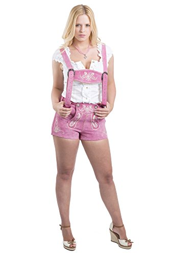 Ladies-Bavarian-Lederhosen-Hotpants-Real-Leather-Trouserpants-Pink-Costume
