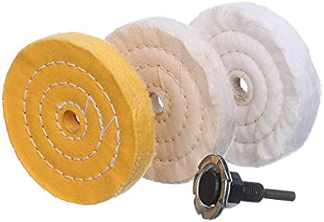 SCOTTCHEN 3 Buffing Polishing Wheels Soft // Coarse 1//2 Thick//Rough 1//2 Thick 3//8 Arbor Hole with 2sets 1//4 Shank for Drill // Fine 36Ply 5Pack 50Ply // Medium 30Ply