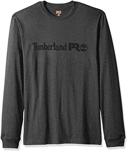 Sleeve Shirt Long Core (Timberland PRO Men's Cotton Core Long-Sleeve T-Shirt with Logo, Dark Charcoal Heather L)