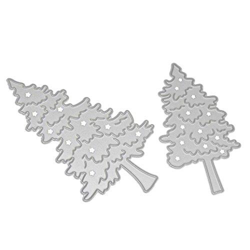 Merry Christmas Metal Cutting Dies, callm Paper Card Making Xmas Trees Die Cut Stencil Template for DIY Scrapbook Photo Album Embossing Craft Decoration (C) (Christmas Merry Making Cards)