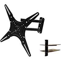 NavePoint Full Motion Articulating Swivel TV Wall Mount Bracket 23-46 Inches with Shelf Black