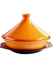 Professional Moroccan Tagine Cooking Pot with Lid,Ceramic Cooking Tajine for Cooking and Stew Casserole Slow Cooker Non Stick for Home Kitchen 1231 (Color:A)
