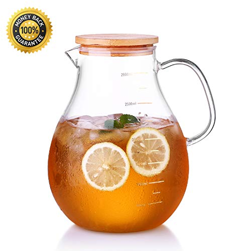 95 Ounce Large Glass Pitcher with Lid and Handle - Heat Resistant Borosilicate Beverage Carafe for Juice and Iced Tea (Sangria Pitcher Glass)