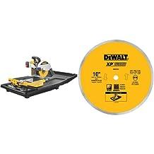 DEWALT D24000 1.5-Horsepower 10-Inch Wet Tile Saw & DEWALT DW4762 10-Inch Wet Cutting Continuous Rim Saw Blade with 5/8-Inch Arbor for Porcelain or Tile