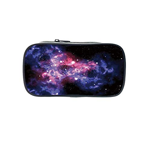 Personal Tailor Pen Bag,Space Decorations,Dusty Gas Cloud Nebula and Star Clusters in The Outer Space Cosmos Solar Deco Print,Navy Purple,for Students,Comfortable Design by iPrint